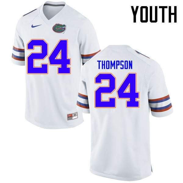 Youth Florida Gators #24 Mark Thompson White Nike NCAA College Football Jersey NNO582LJ