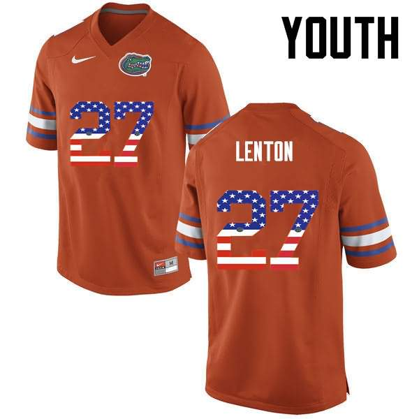 Youth Florida Gators #27 Quincy Lenton USA Flag Fashion Nike NCAA College Football Jersey EHY373YJ