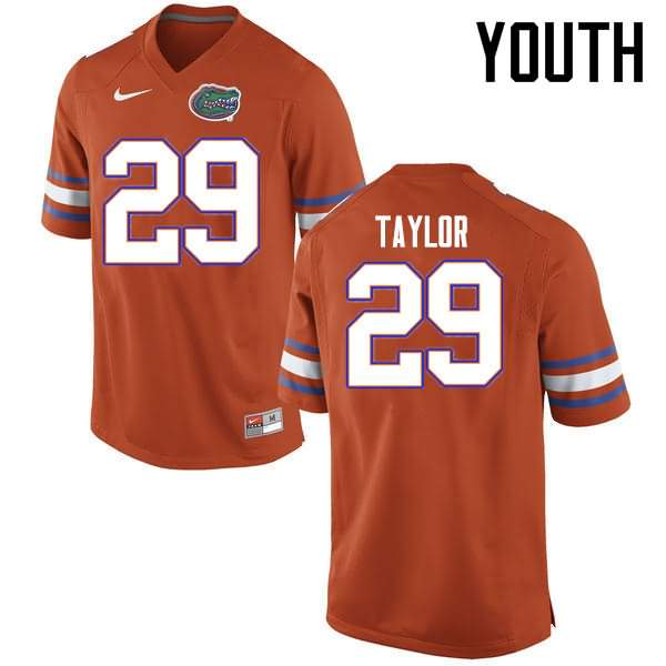 Youth Florida Gators #29 Jeawon Taylor Orange Nike NCAA College Football Jersey POD141RJ