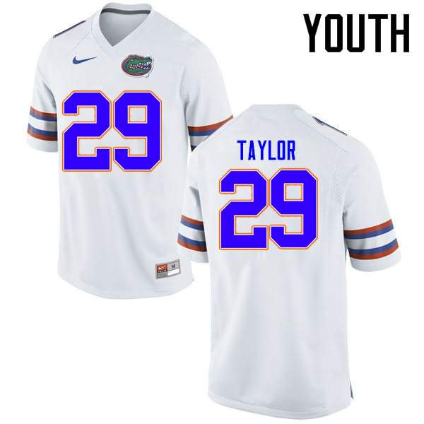 Youth Florida Gators #29 Jeawon Taylor White Nike NCAA College Football Jersey ERG541NJ