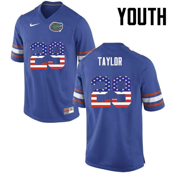 Youth Florida Gators #29 Jeawon Taylor USA Flag Fashion Nike NCAA College Football Jersey ZQK670LJ