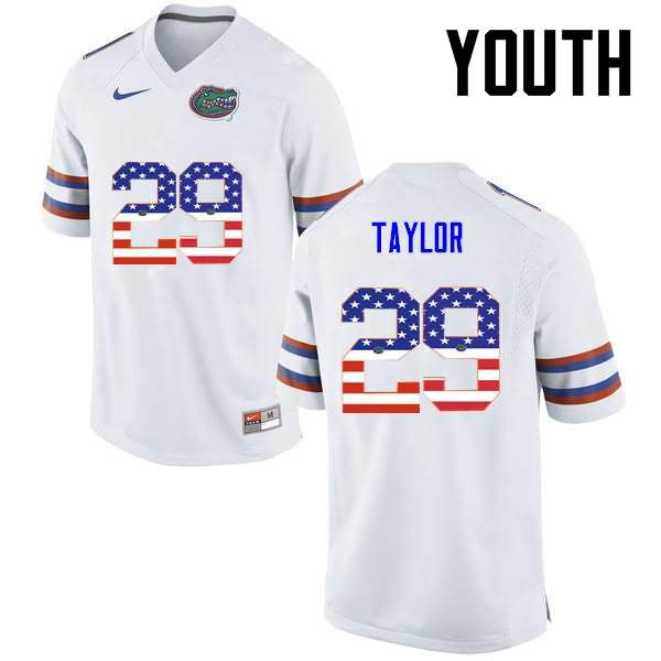 Youth Florida Gators #29 Jeawon Taylor USA Flag Fashion Nike NCAA College Football Jersey GHZ177EJ