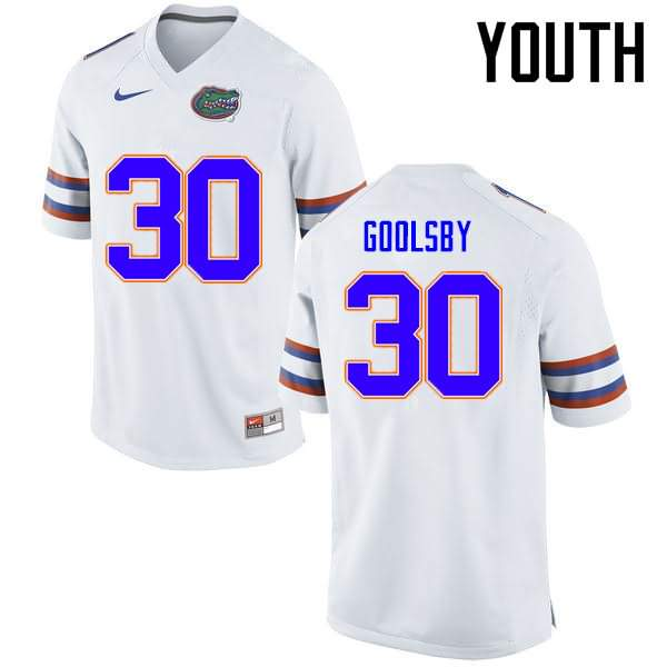 Youth Florida Gators #30 DeAndre Goolsby White Nike NCAA College Football Jersey LCU021EJ