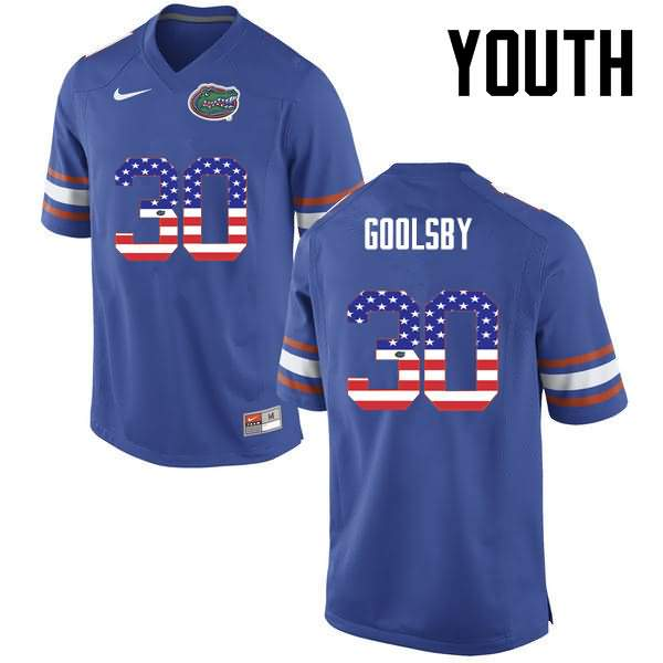 Youth Florida Gators #30 DeAndre Goolsby USA Flag Fashion Nike NCAA College Football Jersey KUV164UJ