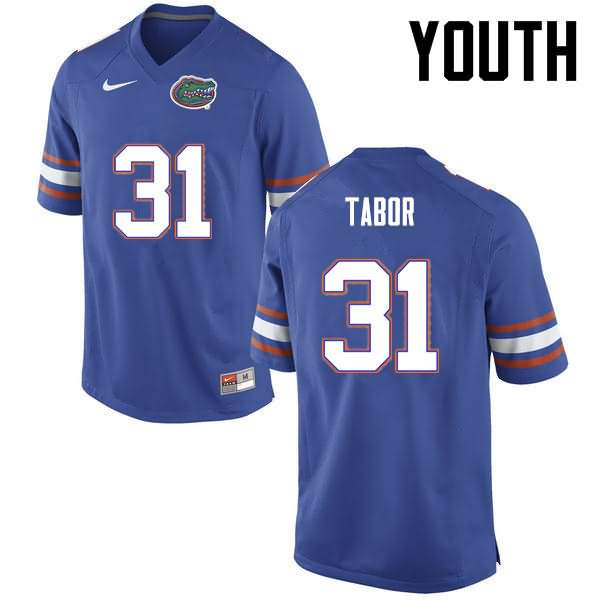 Youth Florida Gators #31 Teez Tabor Blue Nike NCAA College Football Jersey BWG048QJ