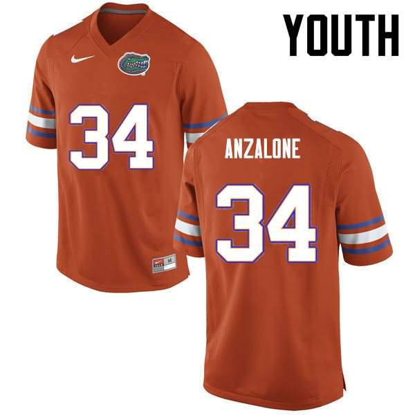 Youth Florida Gators #34 Alex Anzalone Orange Nike NCAA College Football Jersey BQJ746OJ