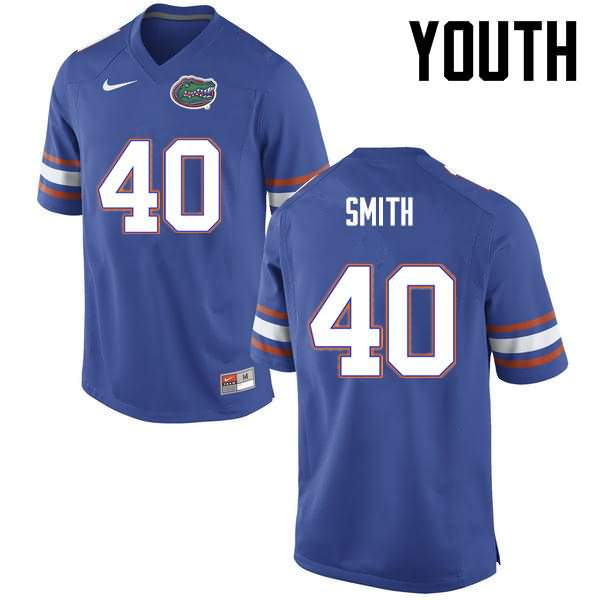 Youth Florida Gators #40 Nick Smith Blue Nike NCAA College Football Jersey QCX176TJ
