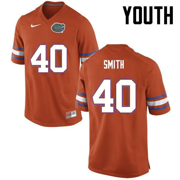 Youth Florida Gators #40 Nick Smith Orange Nike NCAA College Football Jersey UES033QJ