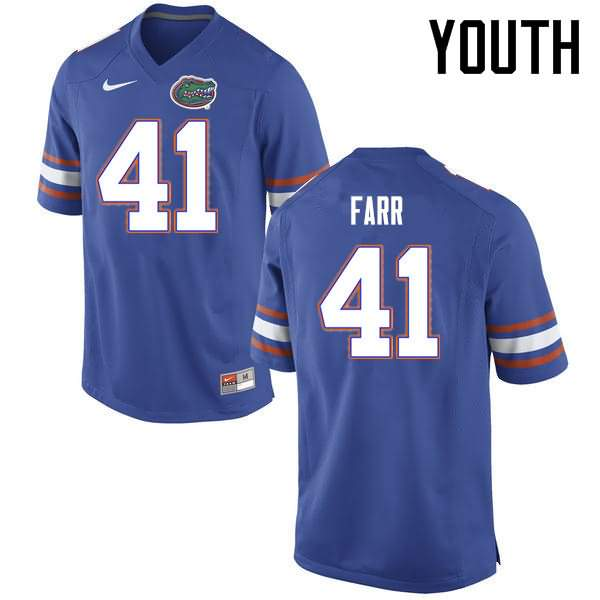 Youth Florida Gators #41 Ryan Farr Blue Nike NCAA College Football Jersey SQQ728OJ
