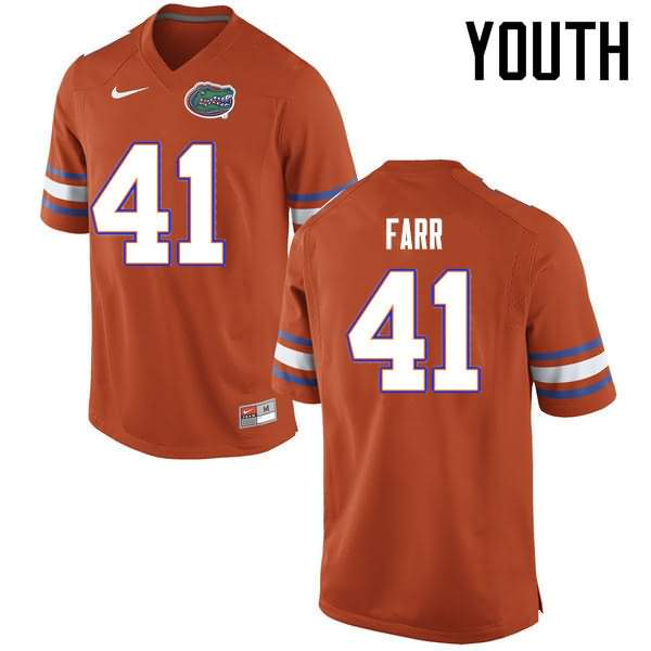 Youth Florida Gators #41 Ryan Farr Orange Nike NCAA College Football Jersey XBD745TJ