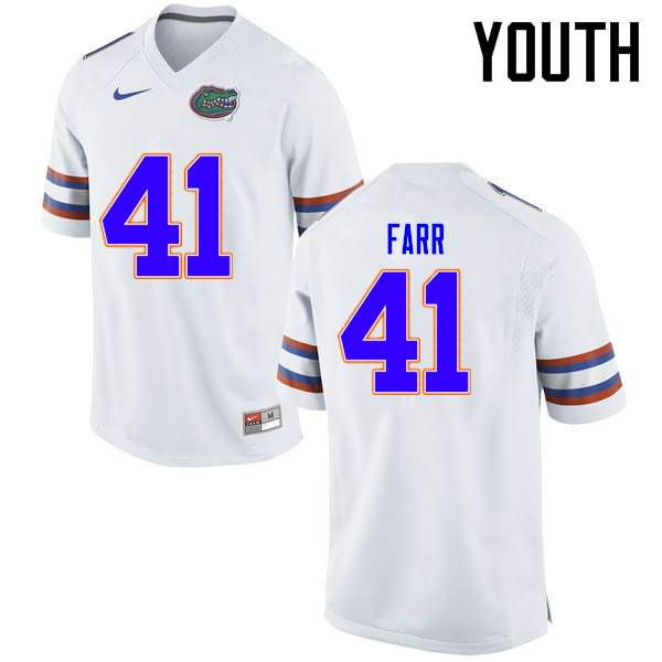 Youth Florida Gators #41 Ryan Farr White Nike NCAA College Football Jersey GGN683EJ