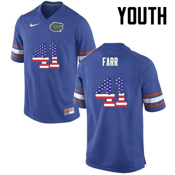 Youth Florida Gators #41 Ryan Farr USA Flag Fashion Nike NCAA College Football Jersey ZLG626KJ