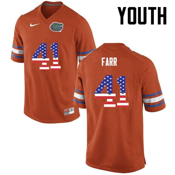 Youth Florida Gators #41 Ryan Farr USA Flag Fashion Nike NCAA College Football Jersey WQY258KJ