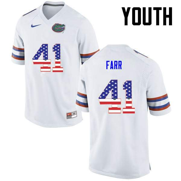 Youth Florida Gators #41 Ryan Farr USA Flag Fashion Nike NCAA College Football Jersey CBL310FJ