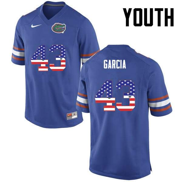 Youth Florida Gators #43 Cristian Garcia USA Flag Fashion Nike NCAA College Football Jersey GDS716AJ