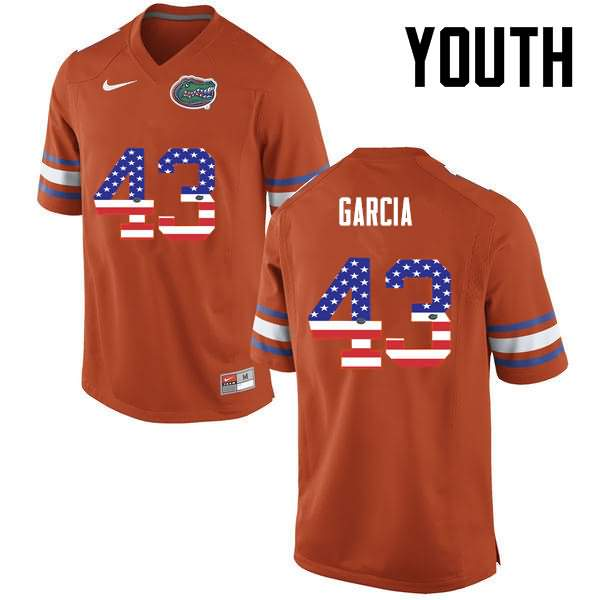 Youth Florida Gators #43 Cristian Garcia USA Flag Fashion Nike NCAA College Football Jersey JIU443RJ