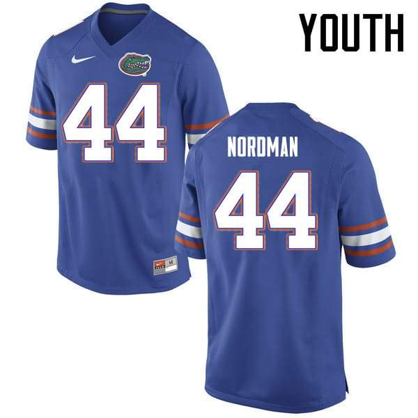 Youth Florida Gators #44 Tucker Nordman Blue Nike NCAA College Football Jersey LIK685UJ