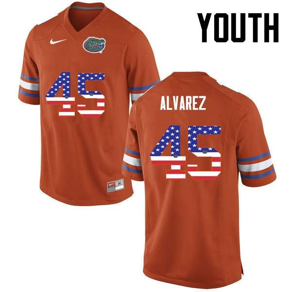 Youth Florida Gators #45 Carlos Alvarez USA Flag Fashion Nike NCAA College Football Jersey DEX026FJ