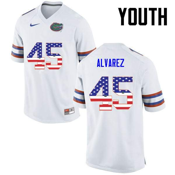 Youth Florida Gators #45 Carlos Alvarez USA Flag Fashion Nike NCAA College Football Jersey LEA853MJ