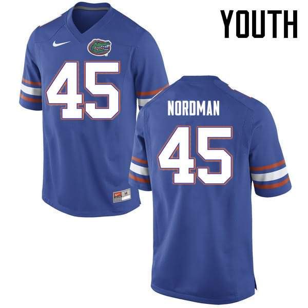 Youth Florida Gators #45 Charles Nordman Blue Nike NCAA College Football Jersey KLB804ZJ