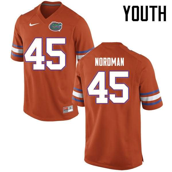 Youth Florida Gators #45 Charles Nordman Orange Nike NCAA College Football Jersey YOR117RJ