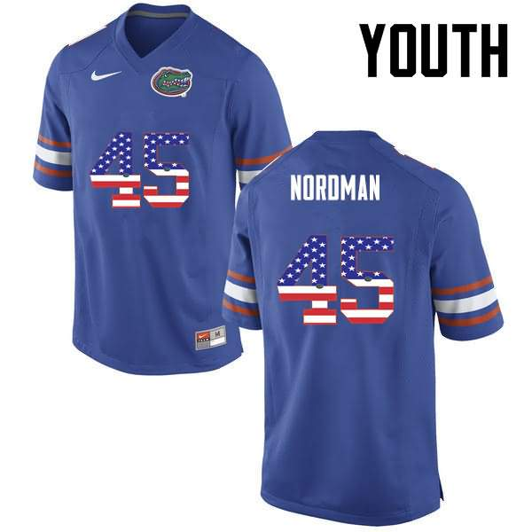 Youth Florida Gators #45 Charles Nordman USA Flag Fashion Nike NCAA College Football Jersey XOV727GJ