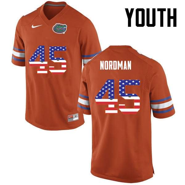 Youth Florida Gators #45 Charles Nordman USA Flag Fashion Nike NCAA College Football Jersey OPL578LJ