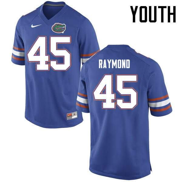 Youth Florida Gators #45 R.J. Raymond Blue Nike NCAA College Football Jersey OUB246BJ