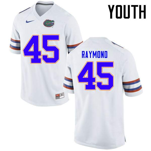 Youth Florida Gators #45 R.J. Raymond White Nike NCAA College Football Jersey UUZ241JJ