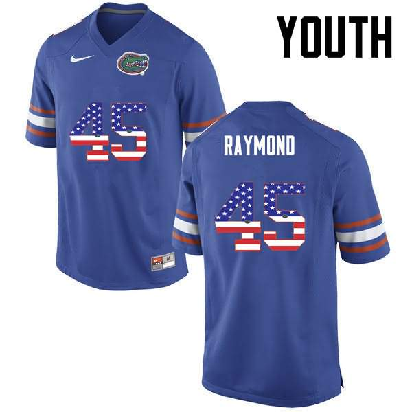 Youth Florida Gators #45 R.J. Raymond USA Flag Fashion Nike NCAA College Football Jersey SQV717QJ