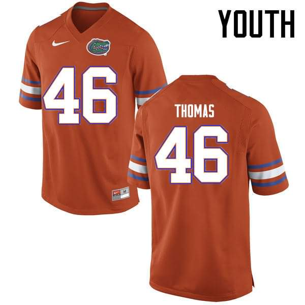 Youth Florida Gators #46 Will Thomas Orange Nike NCAA College Football Jersey WFE641OJ