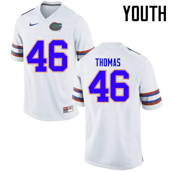 Youth Florida Gators #46 Will Thomas White Nike NCAA College Football Jersey WVV078XJ