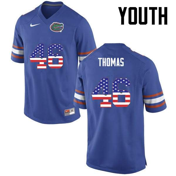 Youth Florida Gators #46 Will Thomas USA Flag Fashion Nike NCAA College Football Jersey AYO178BJ