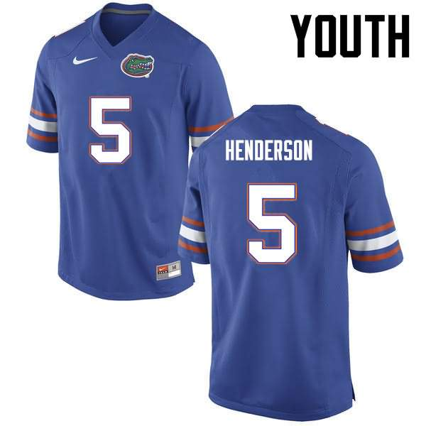 Youth Florida Gators #5 CJ Henderson Blue Nike NCAA College Football Jersey PRR602KJ