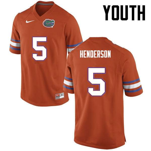 Youth Florida Gators #5 CJ Henderson Orange Nike NCAA College Football Jersey OJS246VJ