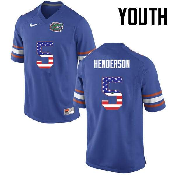 Youth Florida Gators #5 CJ Henderson USA Flag Fashion Nike NCAA College Football Jersey BGR325BJ