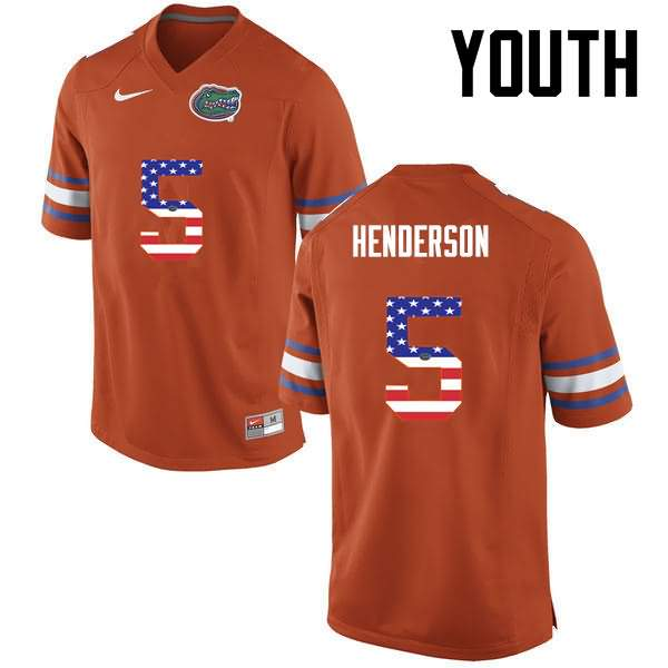 Youth Florida Gators #5 CJ Henderson USA Flag Fashion Nike NCAA College Football Jersey EVK286VJ