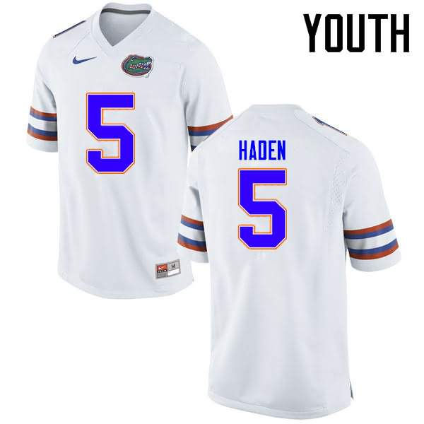 Youth Florida Gators #5 Joe Haden White Nike NCAA College Football Jersey BRA688IJ
