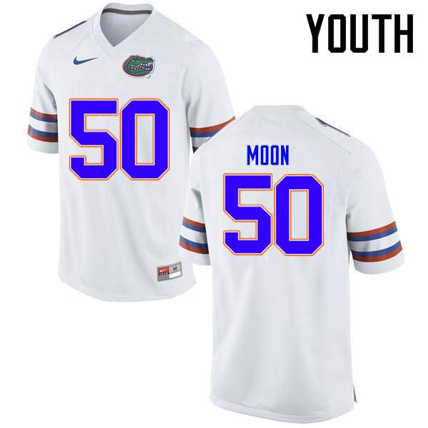 Youth Florida Gators #50 Jeremiah Moon White Nike NCAA College Football Jersey CKK276NJ