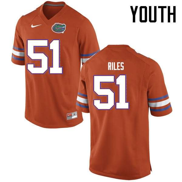Youth Florida Gators #51 Antonio Riles Orange Nike NCAA College Football Jersey AXI732LJ