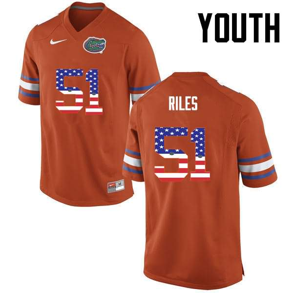 Youth Florida Gators #51 Antonio Riles USA Flag Fashion Nike NCAA College Football Jersey QRV113HJ
