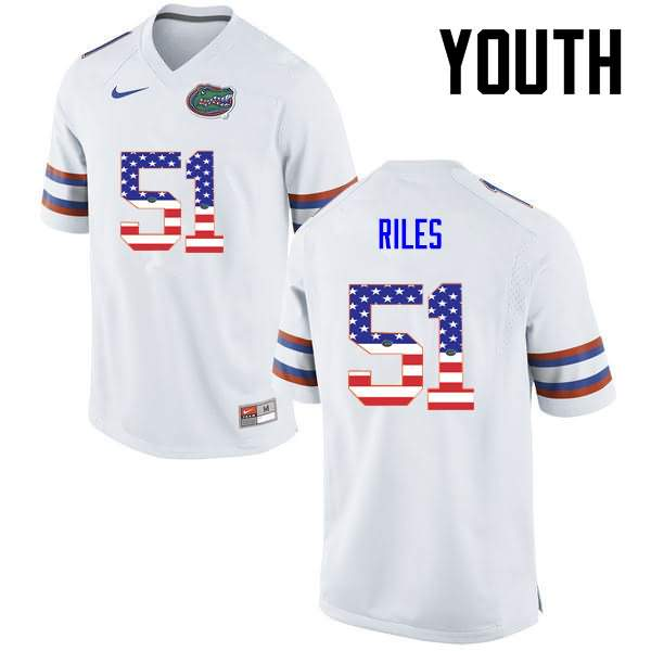 Youth Florida Gators #51 Antonio Riles USA Flag Fashion Nike NCAA College Football Jersey YJY447CJ