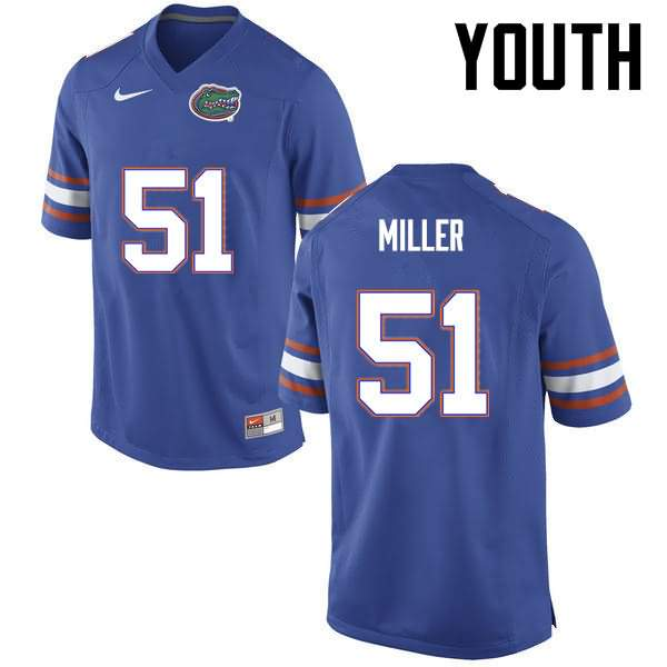 Youth Florida Gators #51 Ventrell Miller Blue Nike NCAA College Football Jersey TOT881FJ