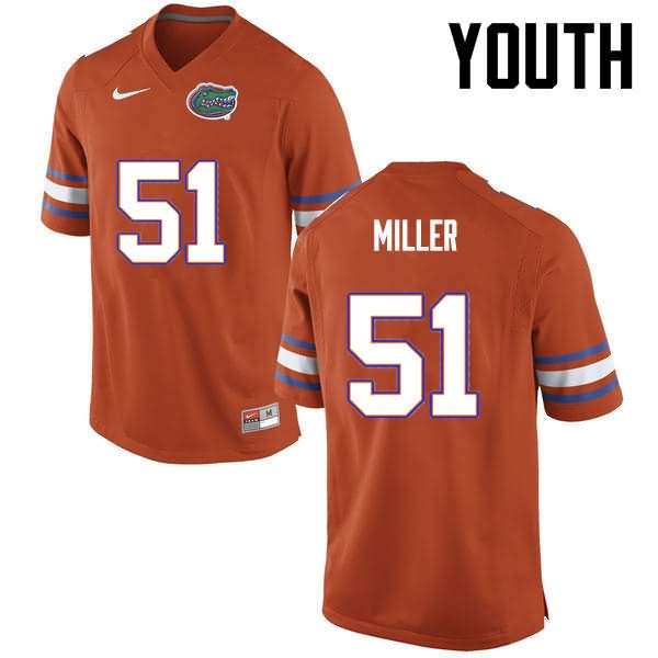 Youth Florida Gators #51 Ventrell Miller Orange Nike NCAA College Football Jersey IXQ283XJ
