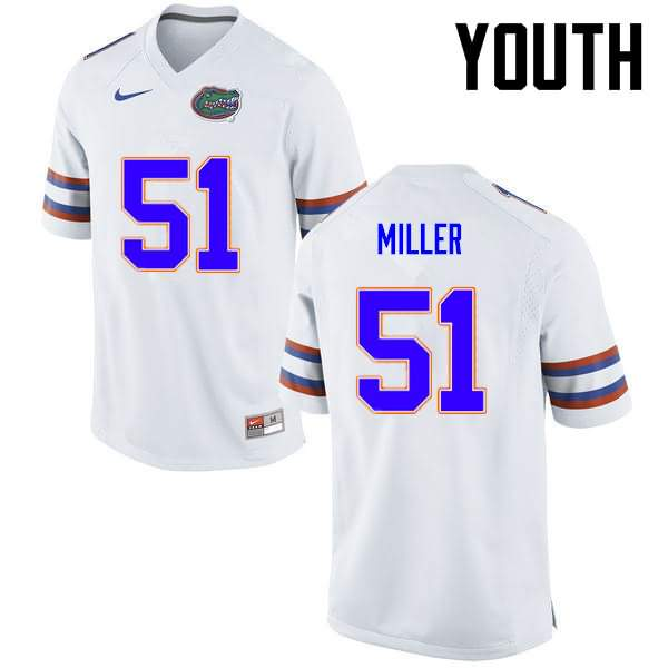 Youth Florida Gators #51 Ventrell Miller White Nike NCAA College Football Jersey TLS806EJ