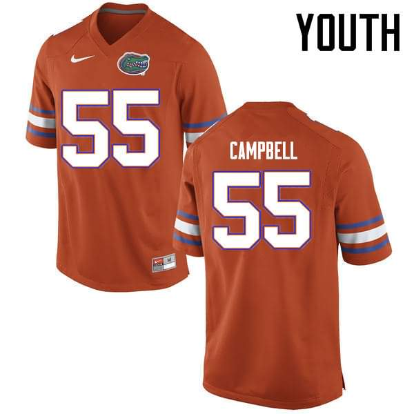 Youth Florida Gators #55 Kyree Campbell Orange Nike NCAA College Football Jersey KNM354OJ