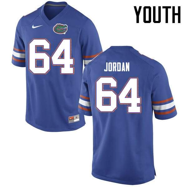 Youth Florida Gators #64 Tyler Jordan Blue Nike NCAA College Football Jersey XDA788RJ