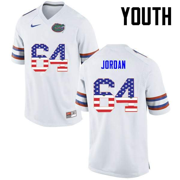 Youth Florida Gators #64 Tyler Jordan USA Flag Fashion Nike NCAA College Football Jersey QNV478FJ
