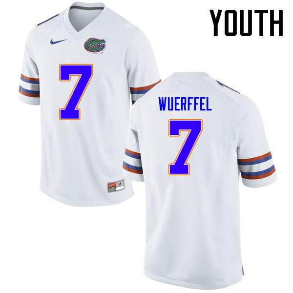 Youth Florida Gators #7 Danny Wuerffel White Nike NCAA College Football Jersey DMF703MJ