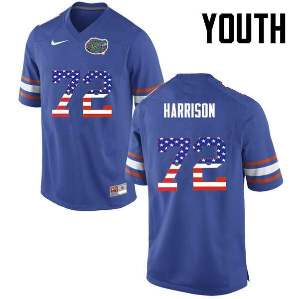 Youth Florida Gators #72 Jonotthan Harrison USA Flag Fashion Nike NCAA College Football Jersey MHW571PJ